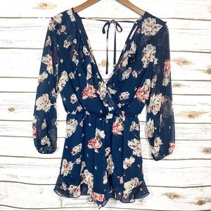 Band of Gypsies Navy Blue Rose Floral Romper Small